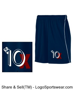 Go 10X Navy Blue Basketball Shorts with a White Stripe Design Zoom